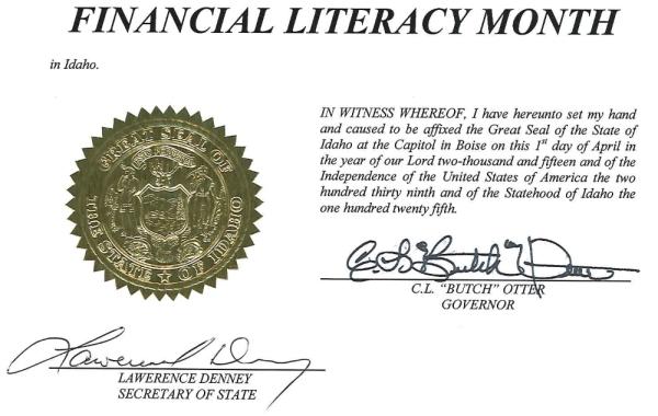 Idaho Financial Literacy Month Proclamation